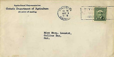 Canada Cover/letter 1949 Departmnt Agriculture Ontario Employee  Meeting/banquet