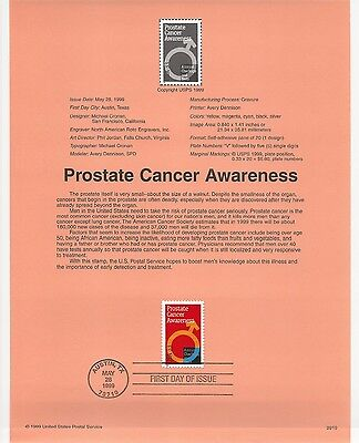 USA FDC USPS First Day Souvenir Pages: 1999: Prostate Cancer Awareness