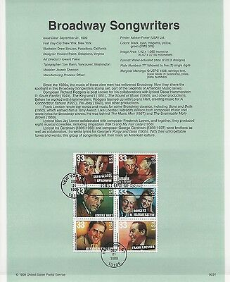 USA FDC USPS First Day Souvenir Pages: 1999: BROADWAY SONGWRITERS