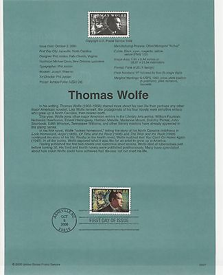 USA FDC USPS First Day Souvenir Pages: 2000:Thomas Wolfe,WRITER:WEB AND THE ROCK