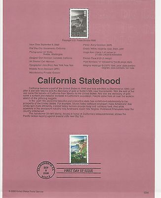 USA FDC USPS First Day Souvenir Pages: 2000 CALIFORNIA STATEHOOD