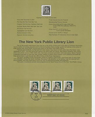 USA FDC USPS First Day Souvenir Pages: 2000: The New York Public Library Lion