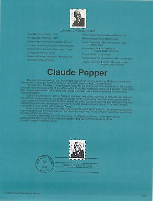 USA FDC USPS First Day Souvenir Pages: CLAUDE PREPPER; 2000 AMERICANA, see below