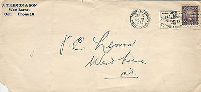CANADA COVER 1928 5c LAURIER STAMP J.T. LEMON & SON TO WEDST HORNE, ONTARIO