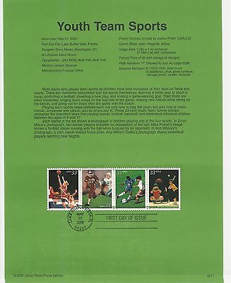 USA FDC USPS First Day Souvenir Pages: 2000:YOUTH TEAM SPORTS: BASEBALL, SOCCER