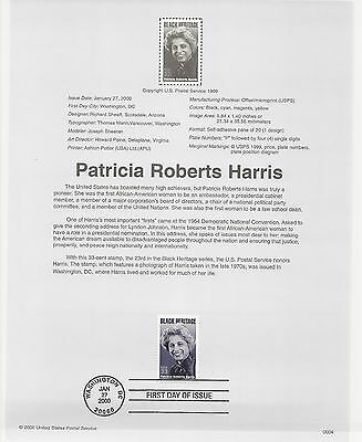 USA FDC USPS First Day Souvenir Pages: 2000: Patricia Roberts Harris, see below