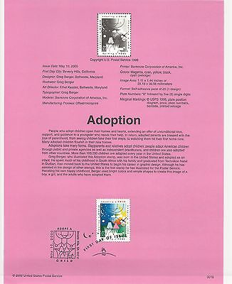 USA FDC USPS First Day Souvenir Pages: 2000 ADOPTION - CHILDREN,FAMILY, PARENTS