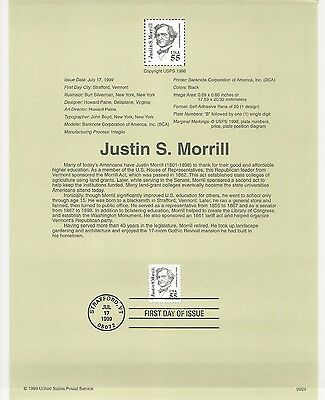 USA FDC USPS First Day Souvenir Pages: 1999: Justin S. Morrill, EDUCATOR