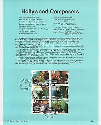 USA FDC USPS First Day Souvenir Pages: 1999: HOLLYWOOD COMPOSERS