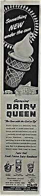DAIRY QUEEN Vintage 1950 ADVERTISEMENT Ice Cream Cone Frozen Dessert Ad