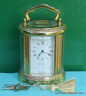 Tiffany & Co French 8 Day Timepiece Oval Brass Boudoir Carriage Clock Serviced