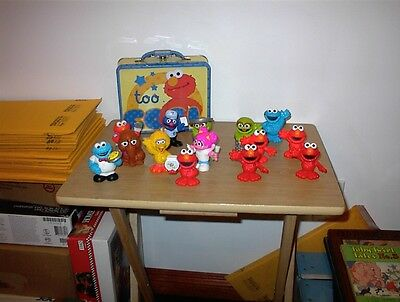 Elmo Square Tin Stationery Small Lunch Box Lunchbox - WITH 14 FIGURES SHOWN