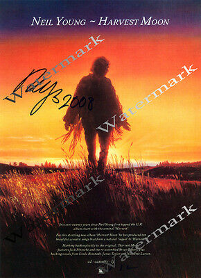 """Neil Young """" Harvest Moon """" Signed Promo Poster (RP)"""