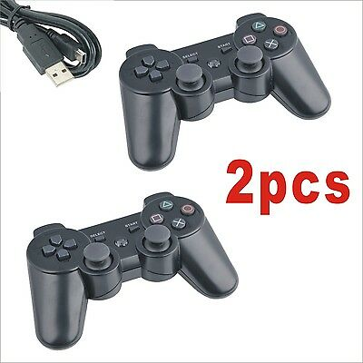 2 x BLACK Wireless Bluetooth Controller for Sony PS3 Plastation 3 + USB Cable