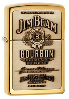 Zippo Jim Beam Full Label Brass Lighter - 254BJB929 Genuine