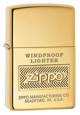 Zippo High-Polished Brass Zippo Label Lighter - 28145 Genuine