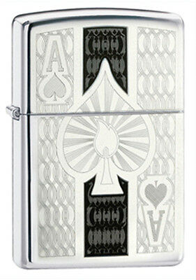 Zippo Ace High-Polished Chrome Lighter - 24196 Genuine