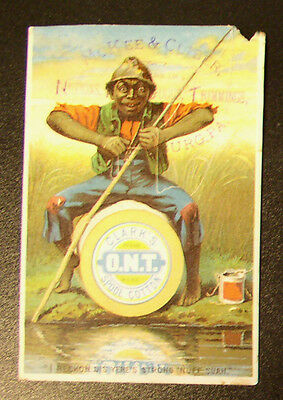"Racist Victorian Trade  Card C. 1880 ~ Clark's Spool Cotton - ""Srong 'nuff suah"""