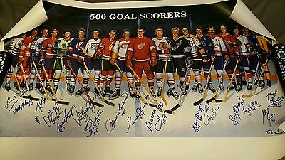 500 Goal Club autographed by 16 players & Ron Lewis Howe Hull Richard Esposito