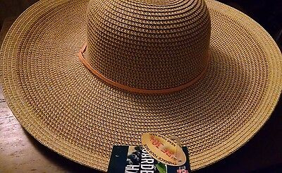 Midwest Ladies UPF 30+ Outdoor Straw Hat Orange Hand Band & Draw String New  Tag