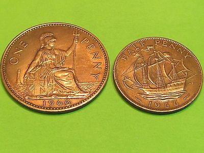 2 British large copper 1966 coins......combine shipping 1 to 10 sets for $2.60