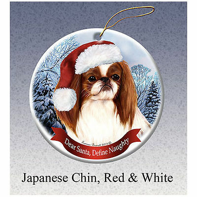 Japanese Chin Red Howliday Porcelain China Dog Christmas Ornament