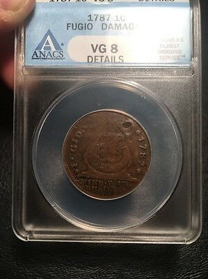 1787 Fugio Cent United States Colonial Copper Coin - First United States Cent!