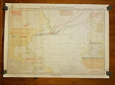 1896 Pilot Chart of the North Atlantic US Navy Hydrographic Map Grand Banks Ice