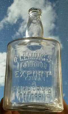 Fleming's Export Pure Rye Pre Prohibition Whiskey Embossed Bottle Pittsburgh