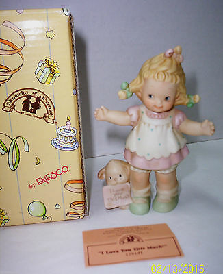 """VALENTINE Enesco Figurine Memories of Yesterday """"I LOVE YOU THIS MUCH """" 1996-New"""