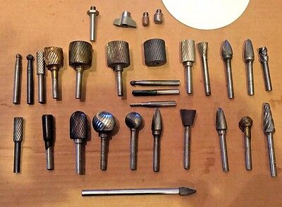 Lathe Mill Machining Carbide Rotary Files Burr Drill Bits Big Lot in Great Shape