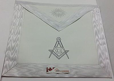 Master Mason Apron White with Embroidered G & Compass