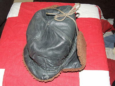 Original 1942 British Army Leather and Fur Cold Weather Cap