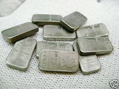 10 x TITANIUM 1g gram MAPLE LEAF BARS TITANIUM .999 Fine Mint Bullion