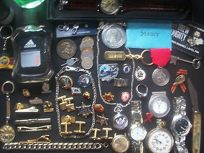 Lot Of Mens Watches Police Tack/lapel Pins Trinkets Collectables & More