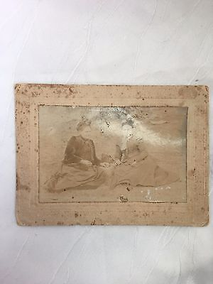 Vintage/antique - Photograph - 2 Ladies In A Park - Very Old And Faded