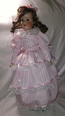"Antique 26"" Armand Marseille Bisque Doll 370 - Leather Body"