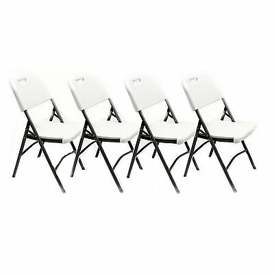 4x Outdoor Chair Folding Portable Stool Indoor Camping White Travel Garden Camp