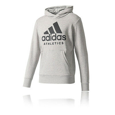Adidas Deporte Id Branded Hombre Gris Sudadera Mangas Largas Running Capucha Top