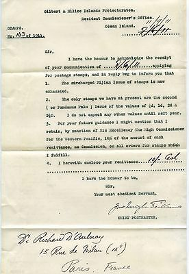 GILBERT + ELLICE Is 1911 POSTMASTER SIGNED LETTER re STAMPS ISSUES + COMMISSION