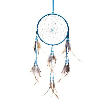 """Blue Dream Catcher Traditonal Native American Dreamcatcher with Feathers 6.1""""..."""