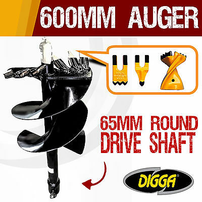 NEW 600mm Auger Drill Bit - Post Hole Earth Augers Boring Tungsten 12 Inch Bits