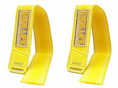 Pair Of Yellow Velcro Cycle Trouser Band Leg Straps Reflective Bike Saftey