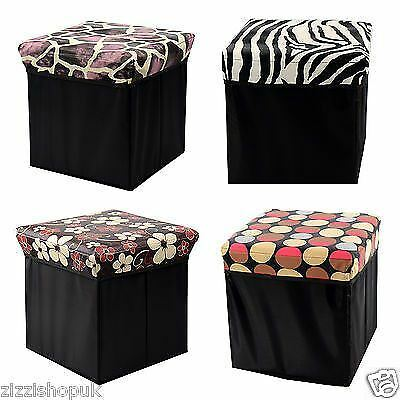 New Folding Home Storage Pouffe Ottoman Foot Stool Toy Chest Box Seat Cube