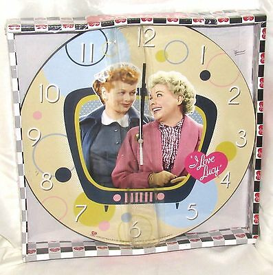 "NIP - I Love Lucy Cordless 13.5"" Lucy & Ethel Wood Wall Clock Multi-Color"