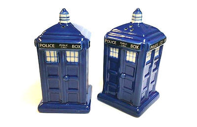Salt and Pepper Police Box Tardis (Met Police Box used The Doctor) Stoneware Who
