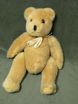 "Ty Vintage Plush Tan Teddy Bear 11"" Jointed 1987 Yellow Bow"