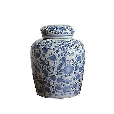 Large Round Blue and White Ceramic Ginger Jar with Lid New