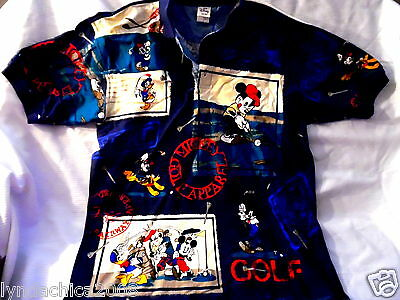Vintage Mickey Mouse Donald Duck Pluto Golf Polo Style Shirt (Size LARGE)