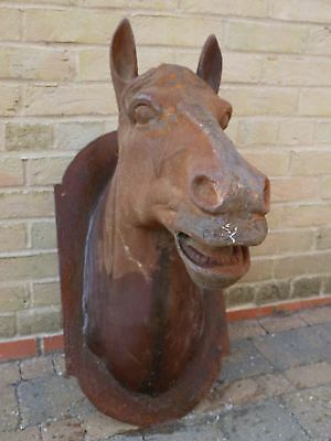 Large Rustic Cast Iron Wall Mounted Horse Head Bust Sculpture